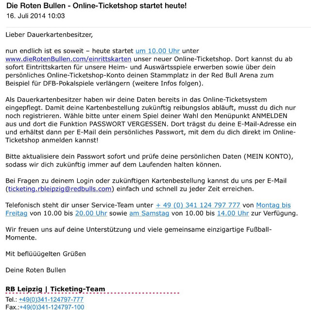 Die Roten Bullen starten Online-Ticketing